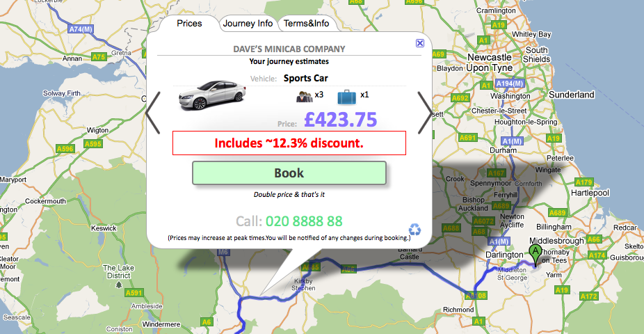 Scaleable taxi discounts based on distance
